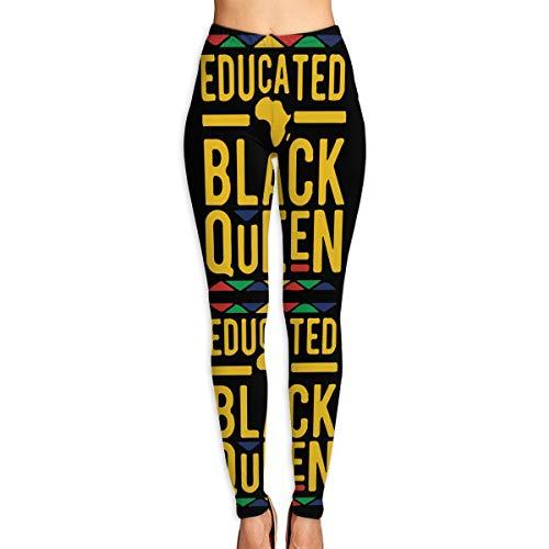 Mo Rong Wen African Educated Black Queen Womens Active Workout Capri Leggings Basic Leggings Pants (Wen Clothing)