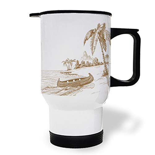 15 oz Stainless Steel Insulated Tumbler Travel Car Mug with Handle, Island Boat Coconut Tree Coffee Mug with Lids, Double Wall Coffee Cups Mugs for Home Office from Roses Garden