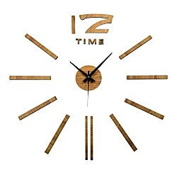 Aura DIY Clock - 3D Wall Decoration - 23 Inch Diameter - Premium Stick On (Oak Wood Finish)