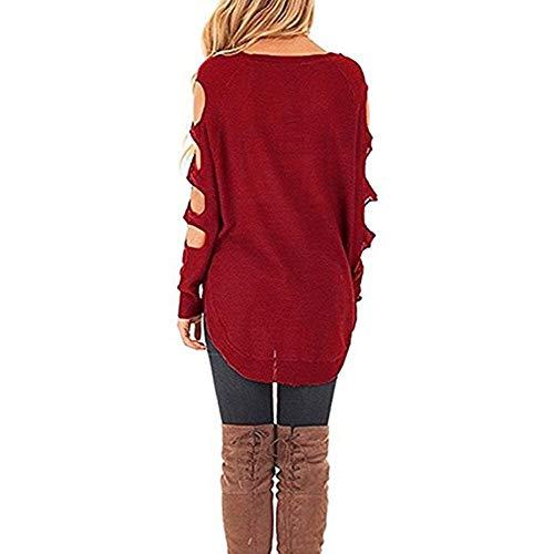 Manches GreatestPAK Froides Creux Longues Chemisier tricot Femmes Pull Automne Chandail en Vrac Rouge paule Aq7tCwpnH