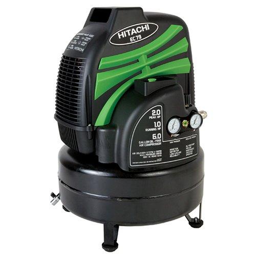 Hitachi EC79 13 Amp 2 Peak HP/1 Run HP 6-Gallon Oil-Free Pancake Compressor  (Discontinued by Manufacturer)