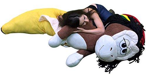 Big Plush Giant 6 Foot Stuffed Banana Monkey Pillow Huge Soft 72 Inch Snuggle Buddy (Rasta Banana Stuffed Animal)