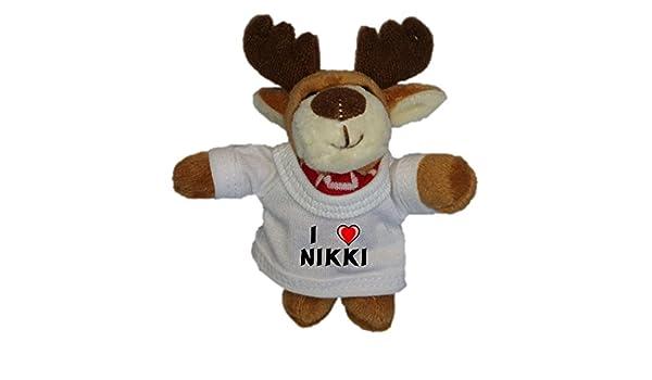 Ciervo de peluche (llavero) con Amo Nikki en la camiseta (nombre de pila/apellido/apodo): Amazon.es: Juguetes y juegos