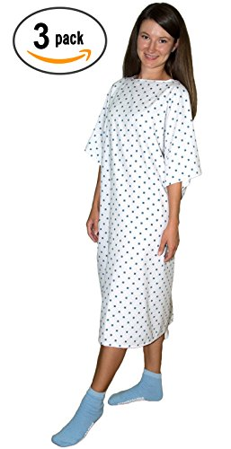 3 Pack - Deluxe Demure Print Hospital Gown/Hospital Patient Gown w/Back Ties by Careoutfit (Image #3)