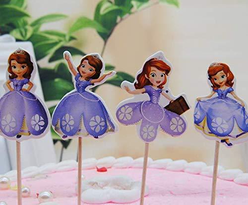 Sofia The First Cupcake Toppers (24x Cupcake Topper Picks -sofia Themed Cupcake Toppers For Kids)