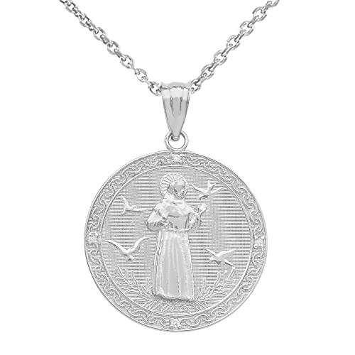 Sterling Silver Saint Francis Of Assisi CZ Round Medal Charm Necklace (Medium), 22