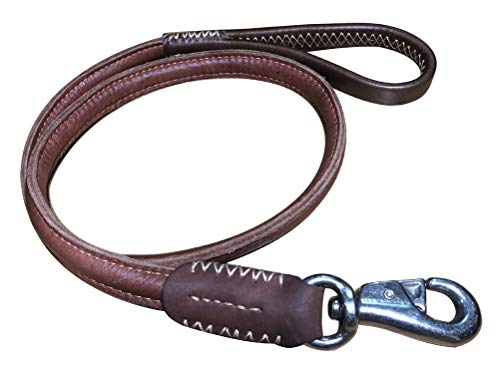 teck Full Grain Leather 4 Ft x 1 Inch Heavy Duty Dog Leash + Hook for Training Dog (Style-A)