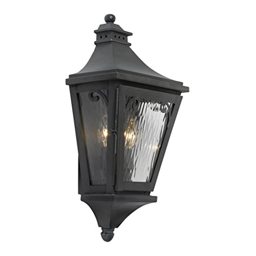 Outdoor Wall Lantern Camden Collection In Solid Brass In A Charcoal Finish