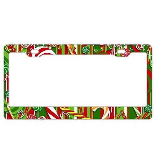 GGRGVR Holiday Christmas Candy Cane License Plate Frame Slim Aluminium