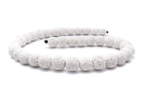 Smooth Lava Stone Loose Beads - Coloured Round Lava Rock Beads Volcanic Gemstone for DIY Handmade Jewelry Making Beaded Necklace Bracelet (White, 10mm) (Handmade Beaded Gemstone Jewelry)