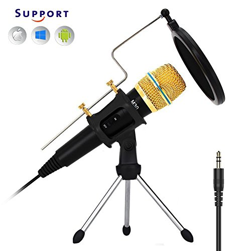 Professional studio Recording Condenser Microphone, G-Touker iphone Microphone sets with stand shock mount great for Podcast,YouTube, Skype, vocals, gameing M30B
