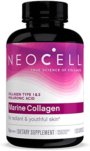 NeoCell Marine Collagen, Collagen Types 1 & 3 for Skin Hydration Certified Paleo Friendly and Gluten-Free  120 Capsules (Packaging May Vary)