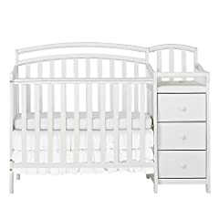 The Dream On Me Casco is a beautiful 4-in-1 mini crib with an attached changing table. This crib combo is great for smaller spaces. The crib features a three level mattress support and beautiful non-toxic finish. The changing table offers 3 r...