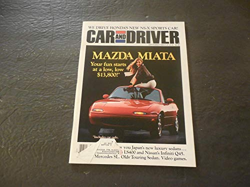 Mazda Calendar - Car And Driver Sep 1989 Honda NS-X; Mazda Miata; Infiniti Q45