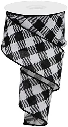 Black, White, 2.5 10 Yards Plaid Check Wired Edge Ribbon