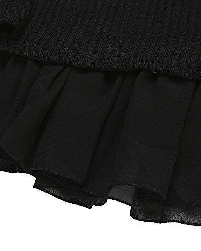 Elegante Largas Negro1 Cuello Casual Vestido ZANZEA Mujer Algodón Lazo Mangas Redondo Gasa Corto TPwBxEn