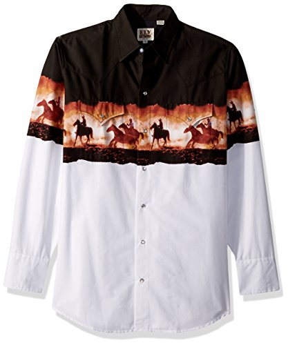 Ely & Walker Men's Long Sleeve Horse Borderprint, Black/White, Small (Pearlized Border)