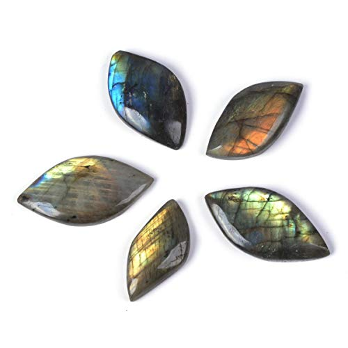 Natural Labradorite Gemstone Leaf Shaped Cab Cabochon Jewelry Craft DIY Kit (Pack of 5) Small ()