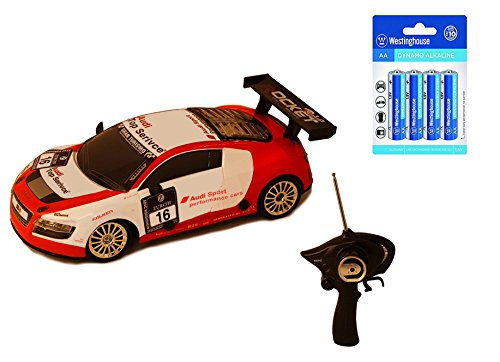 Best Christmas Gifts, Amazing Audi Inspired RC Sports Race Drift Car (Rd/Wt) w/ 2 extra tires and 8 AA Alkaline Batteries,Stocking Stuffers, Birthday & Christmas Gift Ideas for Boys - Age 3 and Up (Rd Race)