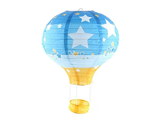 Pack of 3 Hot Air Balloon Paper Lantern Wedding Party Decoration Craft Lamp Shade (Star Blue, 12