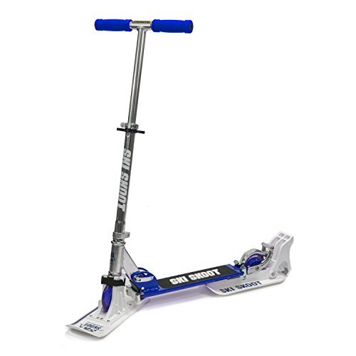 IREKO SS01BL Deluxe Ski Skoot Stunt Scooter for Street or Snow in Blue with Removable Ski Attachment