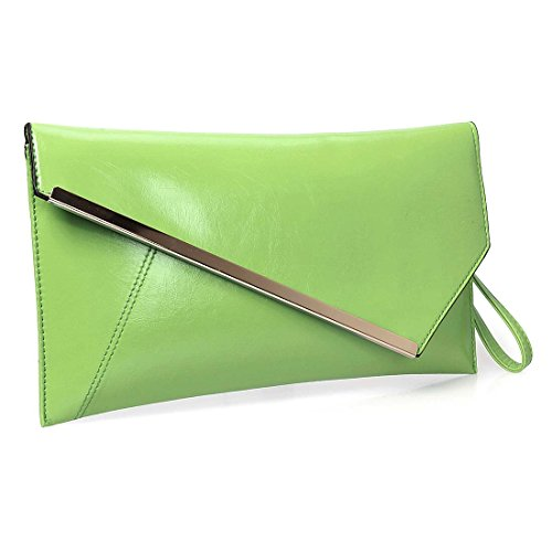 BMC Fashionably Chic Lime Green Faux Leather Gold Metal Accent Envelope Style Statement Clutch (Clutch Purse)