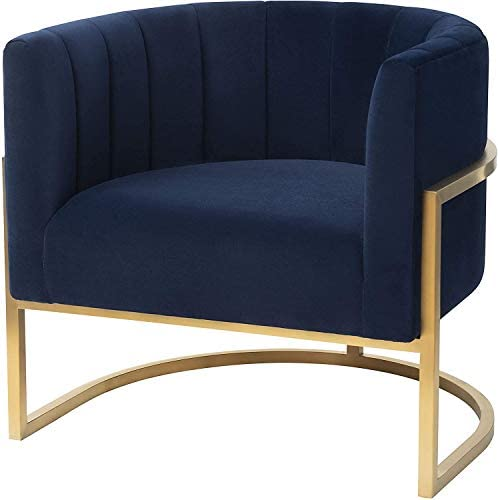 MEXIYA Havana Living Room Chairs Modern Navy Textured Velvet Upholstered Accent Chair