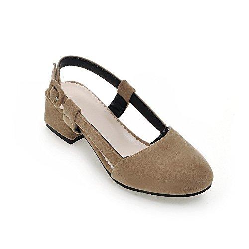 AllhqFashion Mujeres Puntera Cerrada Hebilla Sólido Mini Tacón Sandalias con Metal Albaricoque