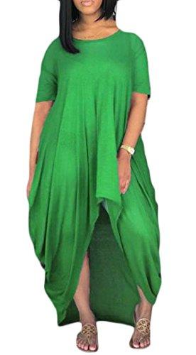 Allentato Irregolare Verde Donna Corta Lungo A Sportiva Manica Jaycargogo Abito Pieghe TpRwq
