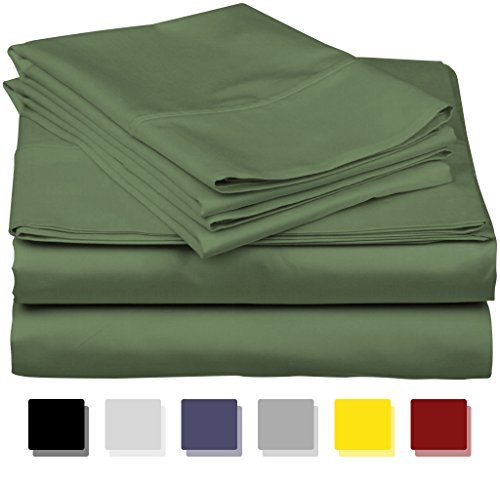 True Luxury 1000-Thread-Count 100% Egyptian Cotton Bed Sheets, 4-Pc Queen SAGE Sheet Set, Single Ply Long-Staple Yarns, Sateen Weave, Fits Mattress Upto 18'' Deep Pocket