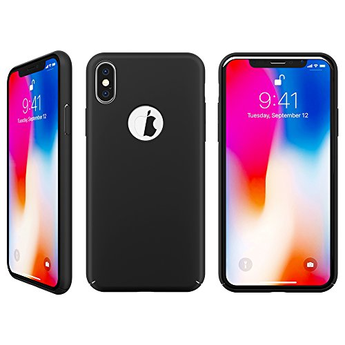 iPhone X case, FlexGear 360 Slim Hard Case w Soft Touch Coating + Glass Screen Protector (Matte Black) Photo #3