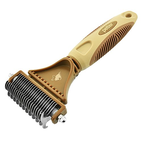 Super Effective Dematting Tool, Dog Grooming Comb By Petter, Safe & Easy, 2-Sided Dematting Rake-Tool For Any Breed, Coat Type & Size-Prevents & Removes All Tangles- Great Choice For Everyday Use by Petter