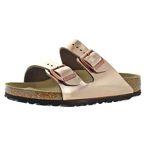 Birkenstock Unisex Arizona Metallic Copper Leather Sandals - 6-6.5 B(M) US Women