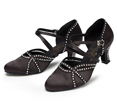 CRC Womens Fashion Low Heel Black Satin Ballroom Latin Tango Salsa Dance Shoes 4 M US