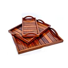 Hashcart Indian Rosewood Sheesham Wood Handmade & Handcrafted Wooden Serving Tray for Dining Tableware, Table Décor, Kitchen Serveware Dining Accessory,Breakfast Coffee Table Tray,Butler Serving Tray
