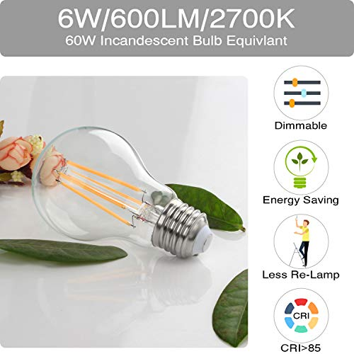 Vintage LED Edison Bulb Dimmable 6W A19 LED Light Bulbs 2700K Soft White 600LM Led Filament Bulb 60W Incandescent Equivalent E26 Medium Base Decorative Clear Glass for Home, Restaurant, Cafe, 6 Pack by Boncoo (Image #2)