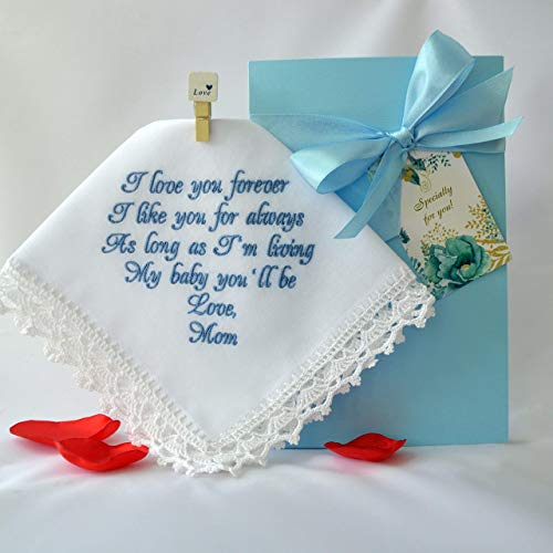Something Blue for Bride Hankerchief for Bride Handkerchief Wedding Gift for Daughter from Mom