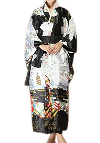 SexyTown Women's Satin Long Kimono Robe Japanese Traditional Costume Night Gown (Black) by SexyTown