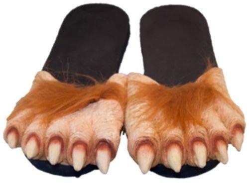 BUY 1 SET GET 1 PAIR FREE HAIRY WEREWOLF FOOT SLIPPER SHOES - BIG WOLF FEET - ADULT SIZE MEDIUM -