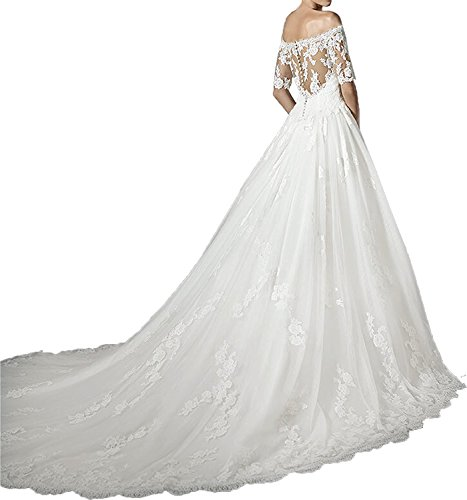 Lamarie Braut Damen Langarm Spitze Hochzeitskleider Brautkleider