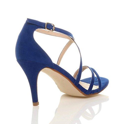 Blue Ajvani Suede Shoes Size Cobalt Women Heel High Sandals 0rqW60Cw