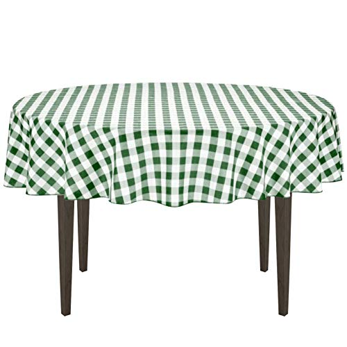 LinenTablecloth 90-Inch Round Polyester Tablecloth Green & W
