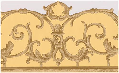 Victorian Brown Beige Vines Yellow Damask Wallpaper Border Retro Design, Roll 15' x 6.2'' ()