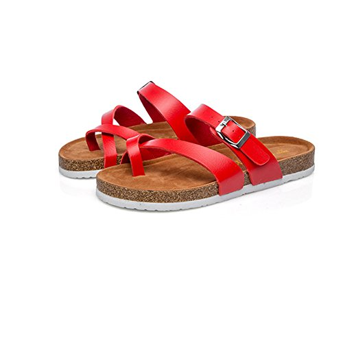 spiaggia per donna estate red pantofole comode da quotidiano donna Flat scarpe per l' o rotonda moda spiaggia spiaggia uso Sdkmah9 sandalo testa scarpe wIFaqZnW