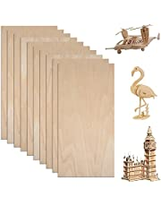 10 Sheets 200x100x1.5mm Unfinished Balsa Wood Sheets, Natural Craft Wood Thin Plywood Pieces Basswood Sheets for DIY Mini Product, Airplane Ship Model and Crafts Project