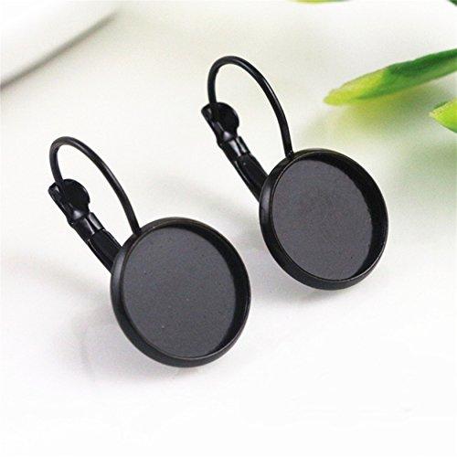 Black Earrings Blank Base Settings Cabochon 12mm Lever Back Hoop Bezel Earring Settings Jewelry Making DIY