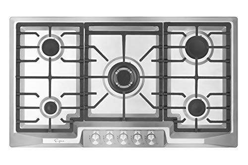 Empava 36' Stainless Steel 5 Italy Sabaf Burners Stove Top Gas Cooktop...
