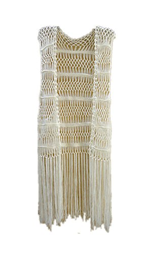 Tinacrochetstudio? Long Fringe Crochet Vest Bikini Cover up Hippie Summer Beachwear, Off White, One Size]()