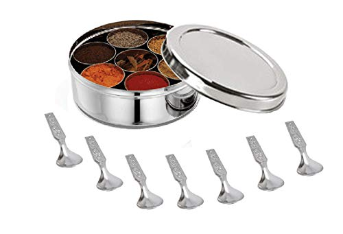 Stainless Steel Spice Box Without Lid,Stainless Steel Masala Box,Indian Spice Box with 7 Spice Containers and Spoons