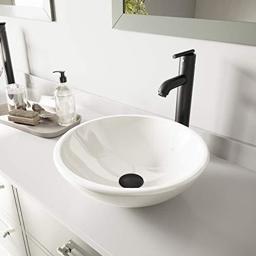 VIGO White Phoenix Stone Vessel Sink and Seville Vessel Faucet with Pop Up, Matte Black